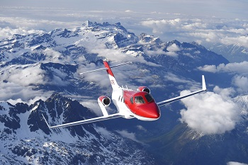 Hondajet Elite flying over the Alps