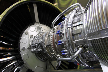 Close up of LEAP engine developed by CFM partnership between GE Aviation and Snecma of France